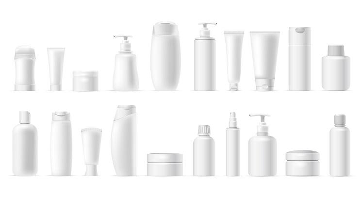 さまざまな形状の化粧品ボトル
